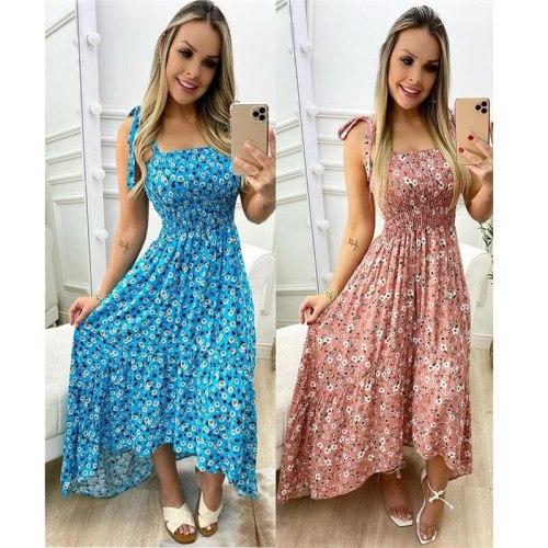 2021 Summer Beach Style Women Dress Elegant Sexy Print Spaghetti Straps Ruffles Maxi Dress