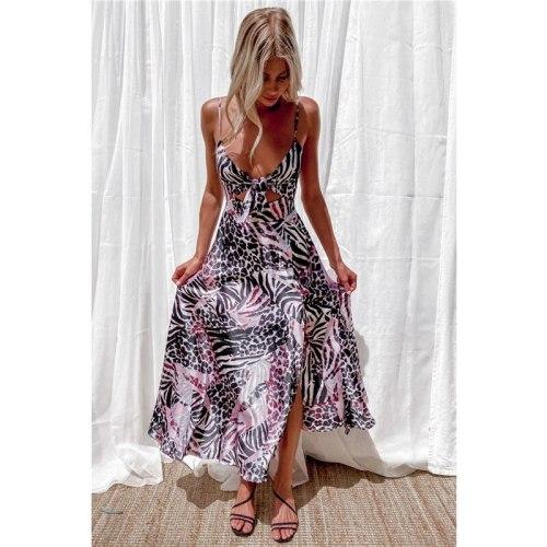 Sexy New Arrival Women Dress 2021 Summer Casual Print Deep V-neck Spaghetti Straps Slim Dress