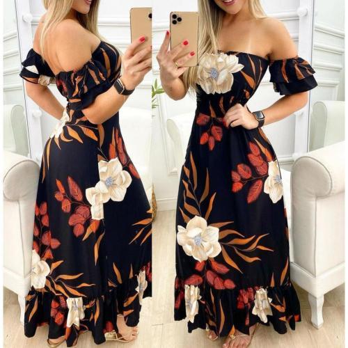Woman Short Sleeve Slash Collar Ruffled  Dresses Elegant Vintage Lady Party Dresses 2021 Summer Off Shoulder Flower Print Dress