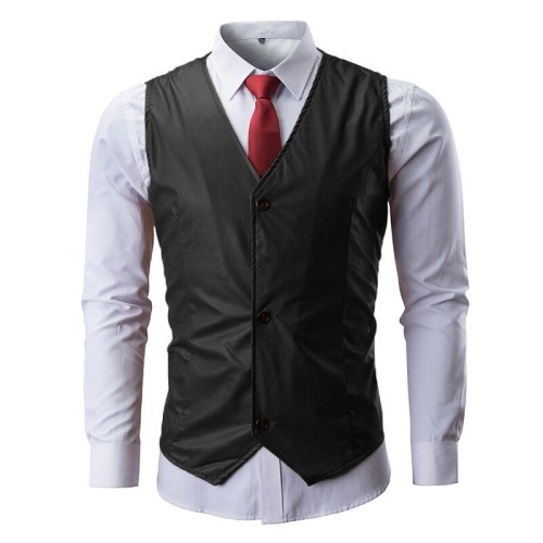 2021 Newcomer fashion leather blazer vest vest suit nightclub DJ stage costume shiny color sequined leather vest men clothing