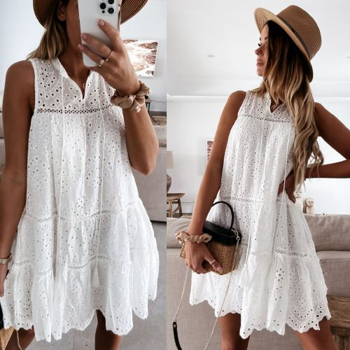 2021 New Sexy Hollow V-neck Lace Dress Loose Home Casual Dress