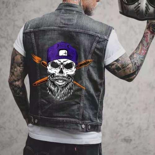 2021 Mens Punk Denim Vests Black Skull Letter Print Denim Waistcoat Slim Fit Fashion Jeans Sleeveless Jacket Male Short Vest Top