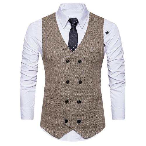 Men Formal Tweed Check Double Breasted Man Vest Waistcoat Retro Slim Fit Suit Vest Fashion
