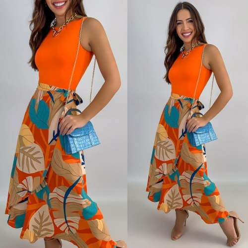 Ladies Skirt Suit Sexy Slim-Fit Sleeveless Vest Top Holiday Style Printed Skirt New Unique Design Elegant Prom Suits