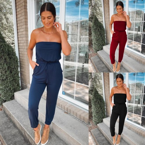 Fashion Women's Off Shoulder Solid Casual Loose Playsuit Loose Sleeveless Streatwear Jumpsuit Romper Trousers
