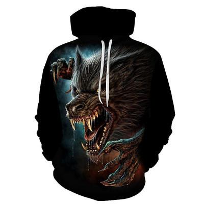 New 3D Skull Pattern Men's Hoodies Coyote Print Sweatshirt Hoodie