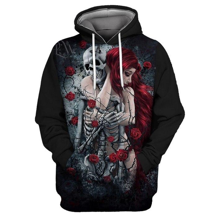 New Fashion Womens Hoodies Skull Skeleton S To 3xL Pull Over Black Unisex 3D Halloween Workout Sweatshirts  Plus Size