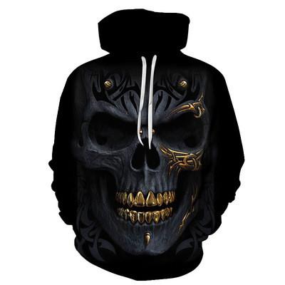 New 3D Skull Pattern Men's Hoodies Golden Teeth Skull Print Sweatshirt Hoodie
