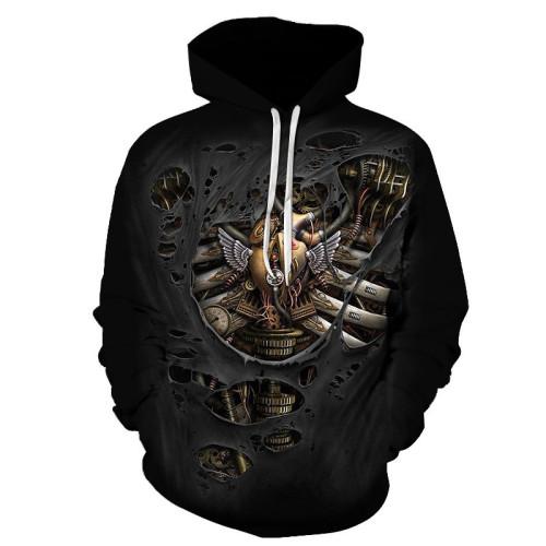 New 3D Skull Pattern Men's Hoodies Horror Theme Metal Rib Print Sweatshirt Hoodie