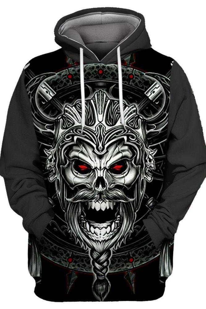 Red Eye Metal Skull Helmet Roaring Demon Print Fashion 3D Hooded Sweatshirts