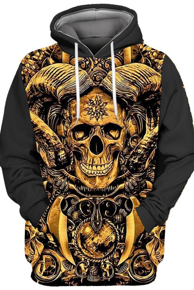 Gold Jewelry Smiling Skull Print Stitching 3D Hooded Sweatshirts