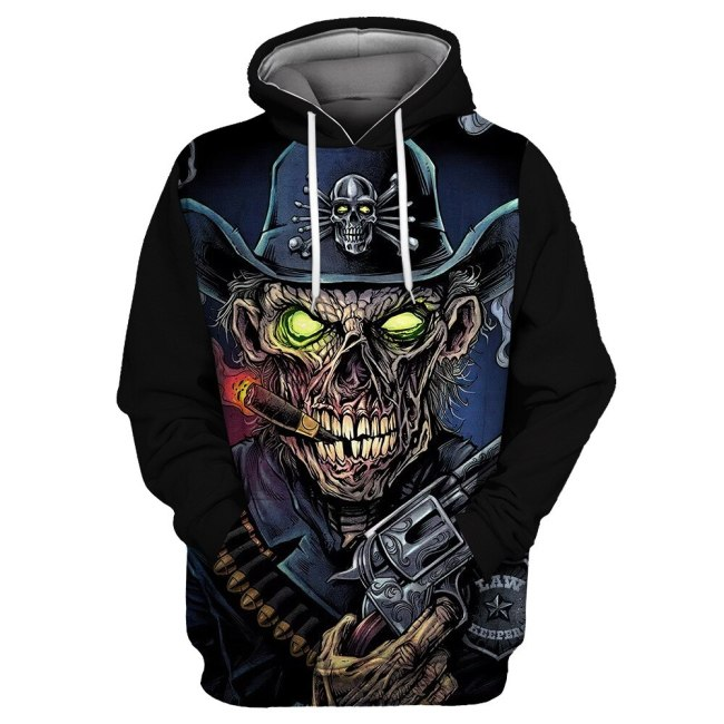 Clothing Green Eyes Pirate Hat Zombie Skull Print Fun 3D Hooded Sweatshirt