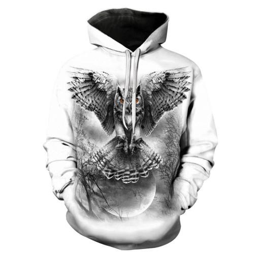 New 3D Skull Pattern Men's Hoodies Horror Eagle Print Sweatshirt Hoodie