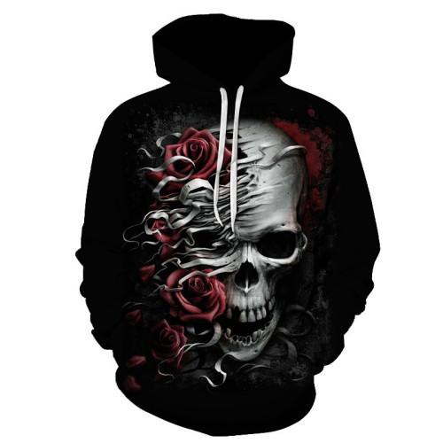 Fashion 3D Skull Graphic Men's Hoodies Rose Skull Print Sweatshirt Hoodie Autumn and Spring Male Hooded Pullover Men Sportswear 6XL