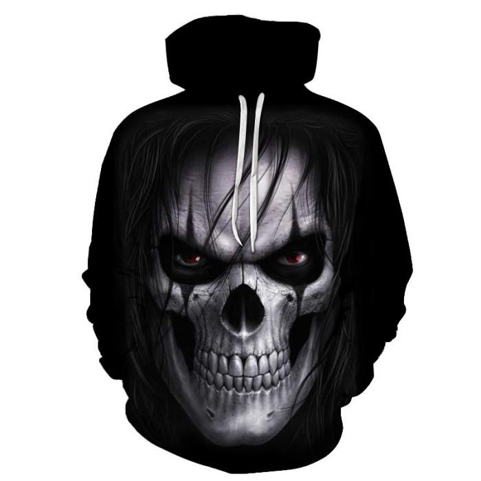 New 3D Skull Pattern Men's Hoodies Horror Theme Print Sweatshirt Hoodie Autumn and Winter Fashion Hooded Pullover Men Sportswear