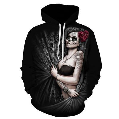 New 3D Skull Pattern Men's Hoodies Horror Theme Girl Ghost Print Sweatshirt Hoodie