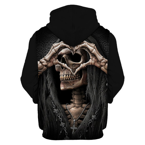 New 3D printing skull head men's hoodie funny hoodie new boys and girls hooded casual fashion spring and autumn jacket