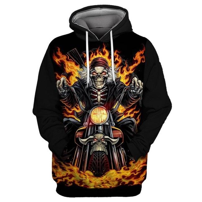 Black Sky Flame Motorcycle Skull Print Casual Men's Sportswears