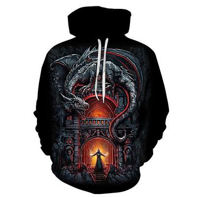 New 3D Skull Pattern Men's Hoodies Evil Dragon Print Sweatshirt Hoodie
