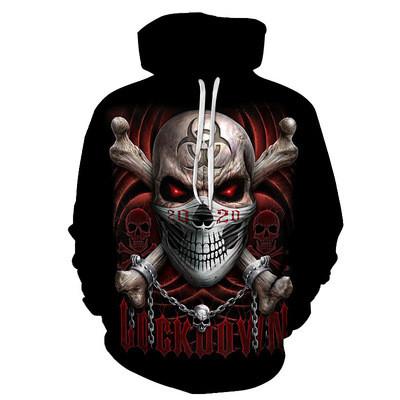 New 3D Skull Pattern Men's Hoodies Chained Skull Print Sweatshirt Hoodie