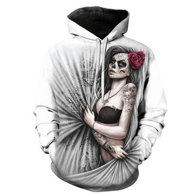 New 3D Skull Pattern Men's Hoodies Horror Theme Dark Rose Girl Print Sweatshirt Hoodie