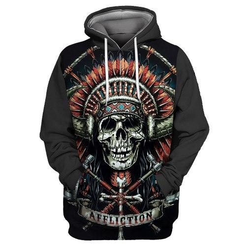 Red Feather Bandana Cross Decorated Metal Skull Print Cool 3D Hooded Sweatshirts