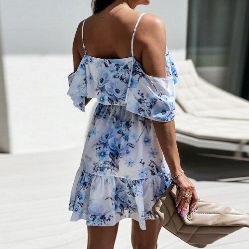Bohemian V Neck Floral Dress Spaghetti Strap Short Sleeve Elastic Waist A Line Print Casual Female Dress Vestidos Summer 2021