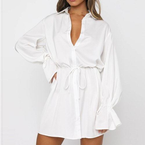 Women Solid Lace Up Office Shirt Dress Autumn Casual Single Breasted White Dress Turndown Collar Button 2021 Fashion Vestidos