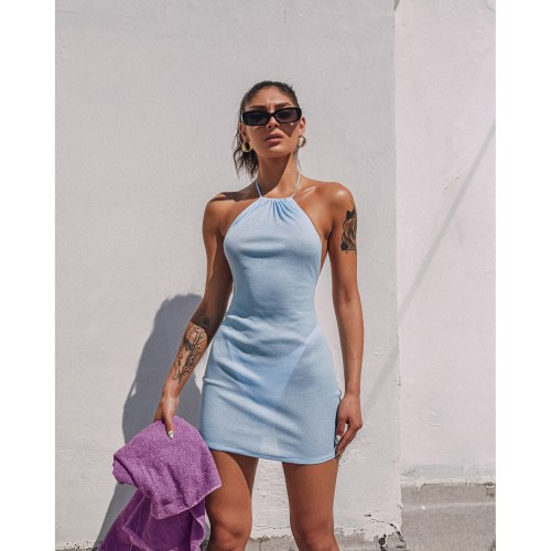 Summer New Unique Design Women's Dress Sexy Self-cultivation Hanging Neck Lace Perspective Hanging Neck Holiday Style