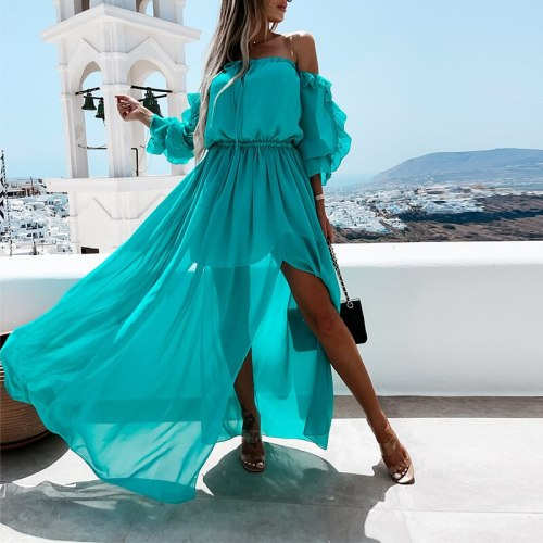 Off Shoulder Autumn Long Dress Women Long Sleeve Ruffles Split Holiday Robe 2021 New Summer Female Elegant A Line Party Dresses