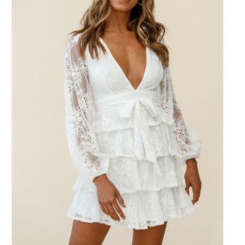 White Lace Party Dress Women Layered V Neck Long Sleeve Autumn Winter Femme Dress Robe Elegant Ladies Dress Vestidos