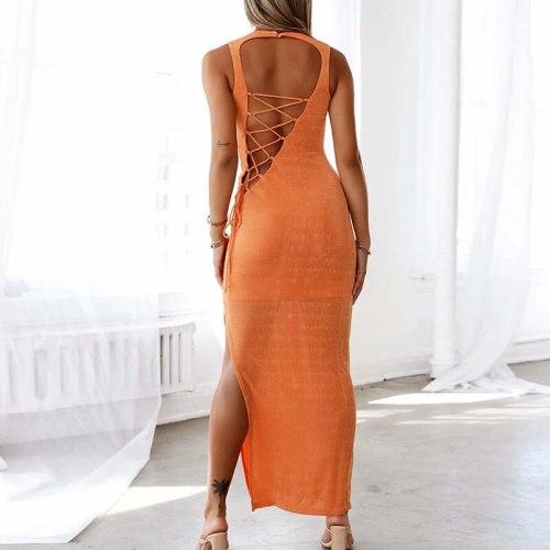 Summer Women O-Neck Backless Long Party Dress Sexy Sheath Sleeveless Solid Ladies Dress Fashion Elegant Streetwear Dropshipping