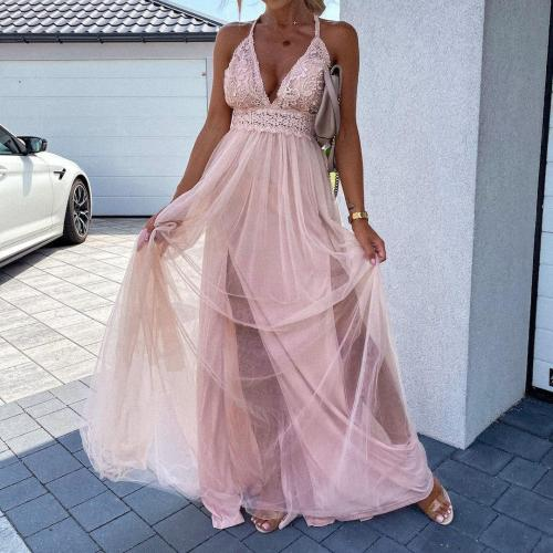 V-neck Hook Flower Hollow Holiday Mesh Summer Dress for Women 2021 Backless Night Party Camisole Maxi Dresses Big Swing Vestidos