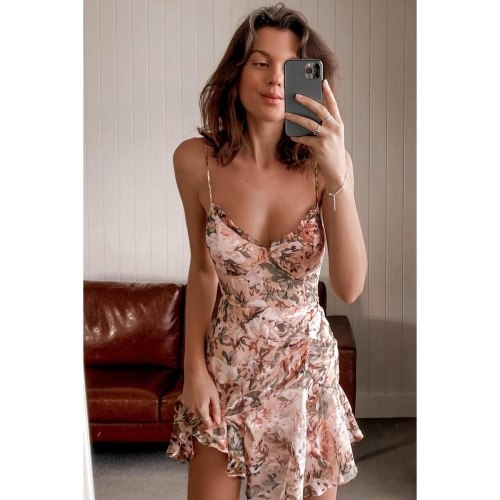 Summer Dress for Women2021 V-neck Backless Beach Holiday Print Camisole Dresses Streetwear Undefined Vestidos Traf Woman Dress
