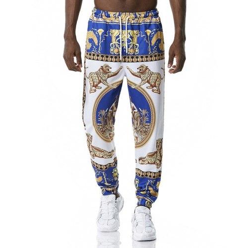 Autumn Men's Casual Pants Personality Fashion Animal Printed Loose Comfortable Elastic Waist Hot Sale Pencil Pants