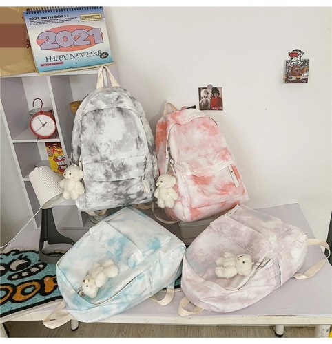 2021 New Tie Dyed Backpack Student Schoolbag for Girls Laptop Backpack High School