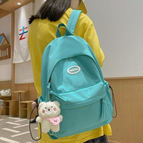 NEW Ins Schoolbag Female Korean Pure Color Niche Simple Japanese Junior High School Students High School Students Backpack