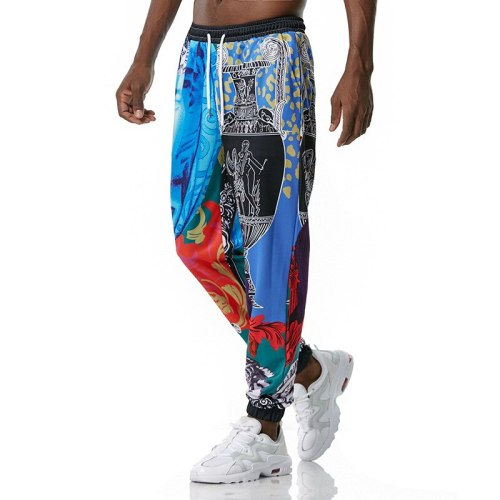 Sweatpants Men 2021 New Casual Vintage 3D Printed Hip Hop Loose Joggers Trousers Drawstring Harem Pants Mens Harajuku Streetwear