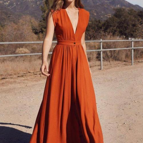 2021 Spring and summer new European and American women's V-neck loose cotton and linen long skirt dress