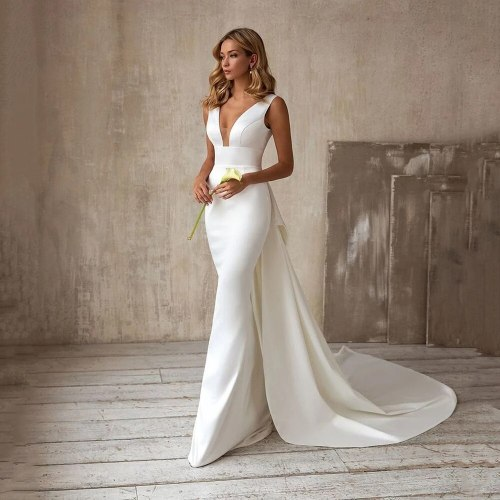 Simple V Neck Satin Mermaid Wedding Gowns White Boho Bridal Dresses With Bow Custom Made Backless Robe De Marriage