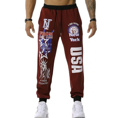 2021 New Men's USA Printed Jogging Pants Outdoor Sports Pants Fitness Pants Soccer Training Pants Youth Trends S-3XL