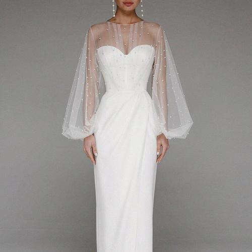 Women Sexy Mesh Pearl Hollow Out Party Evening Dress Ladies Elegant Long Lantern Sleeve High Split Prom Gown