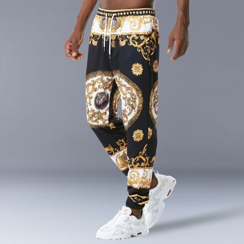 Summer Men's Casual Pants Printed Elastic Waist Breathable Stretchy Vintage Personality Fashion Male Quality Pants