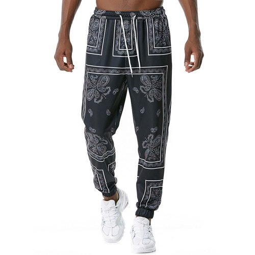 2021 New Men's Retro Printed Jogging Pants With Pockets Gyms Sport Fitness Track Pants For Men Casual Long Trousers Sweatpants