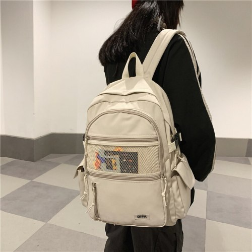 New Waterproof  Nylon Women's Backpack with Front Mesh Pocket Durable Casual Travel Rucksack Schoolbag for Teenage Girls Boys
