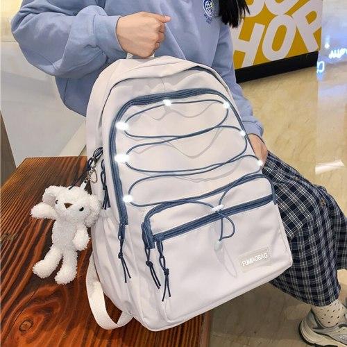 Reflective Strap Woman Nylon Backpack Waterproof Female Book School Bag For Teenage Girls College Studen Women's Travel Rucksack