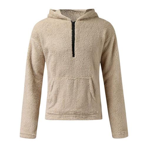 Teddy Fleece Sweater Fluffy Sherpa Fleece 1/3 Zipper Pullover Hooded Fuzzy Warm Streetwear Plus Size 3XL Winter Sweaters