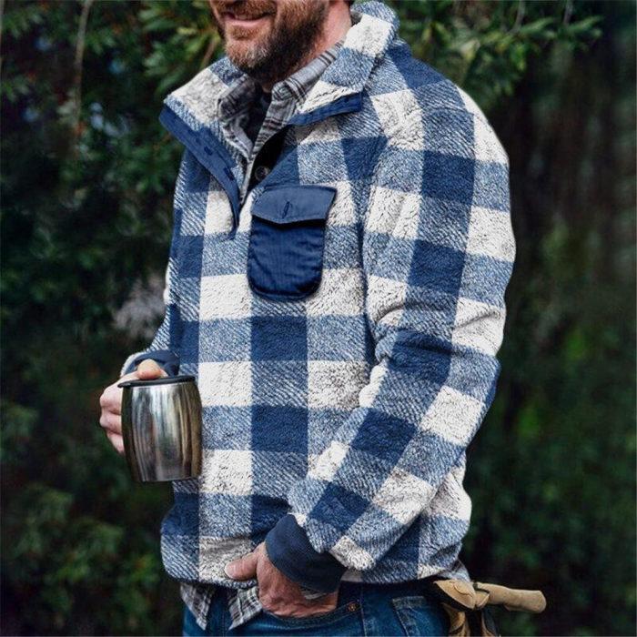 Winter Sherpa Fleece Sweater Plus Size 3XL Fluffy Pullover Popular Plaid Warm Streetwear Teddy Sweaters
