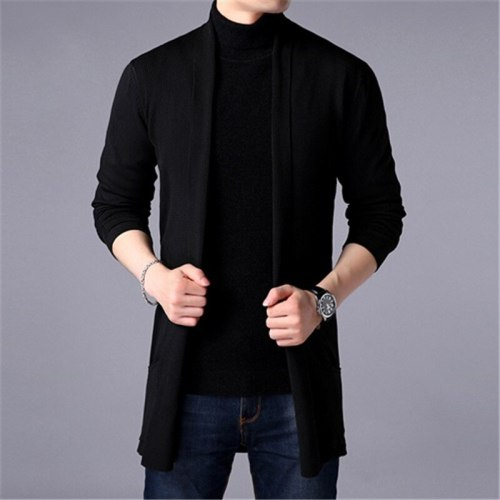 Sweater Coats Men New Fashion 2021 Autumn Men's Slim Long Solid Color Knitted Jacket Fashion Men's Casual Sweater Cardigan Coats
