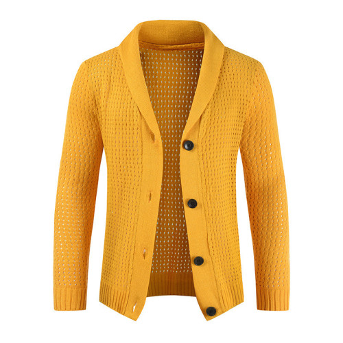 Men Sweater Coat Casual Thicken Cardigan Sweater Men Button Up Coat Pure Color Cardigan